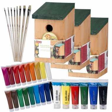 10x stuks houten vogelhuisje/vogelhuisje 22 cm zelf schilderen pakket verf/kwasten