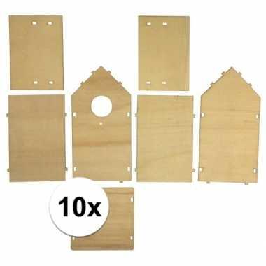 10x stuks vogelhuisjes om zelf te bouwen