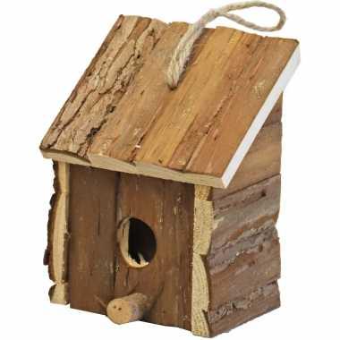 1x broedhuis/vogelhuisje vierkant met schuin dak naturel 9 x 11 x 16 cm