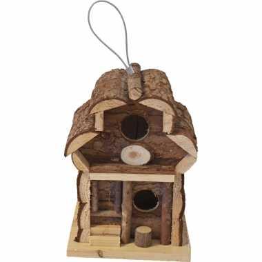 1x broedkast/broedhuis/vogelhuis rond dak naturel 15 x 15 x 21,5 cm vogelhuisje