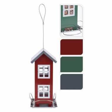 1x stuks vogel voeder huisje voor vogelzaad groen metaal 27 cm vogelhuisje