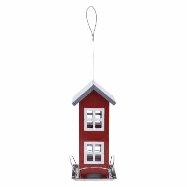 1x stuks vogel voeder huisje voor vogelzaad rood metaal 27 cm vogelhuisje
