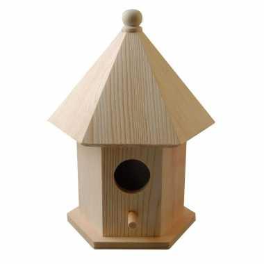 1x vogelhuisje/vogelhuisjes pijnboomhout met dakje 16 cm