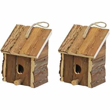 2x broedhuizen/vogelhuisjes vierkant met schuin dak naturel 9 x 11 x 16 cm