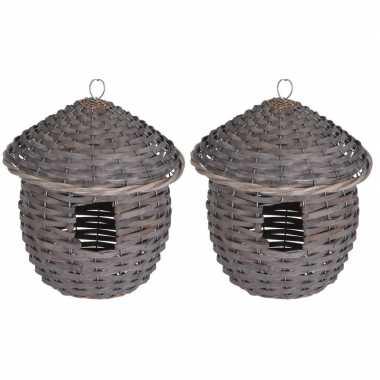 2x gevlochten zeegras vogelhuisjes/vogelhuisjes 25 cm grijs