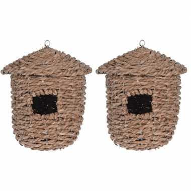 2x gevlochten zeegras vogelhuisjes/vogelhuisjes 30 cm naturel