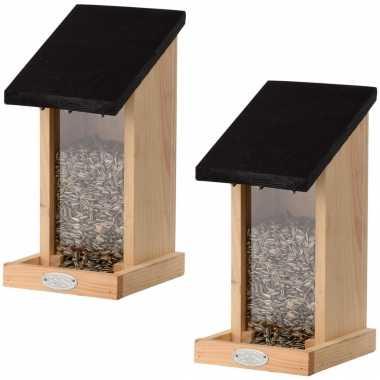 2x houten vogelhuisje/muurvoedersilo 29.3 cm