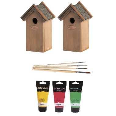 2x houten vogelhuisje/vogelhuisje 22 cm rood/geel/groen dhz schilderen pakket