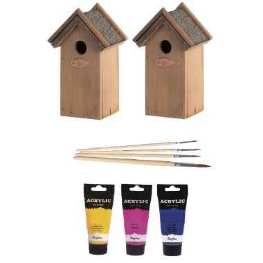 2x houten vogelhuisje/vogelhuisje 22 cm roze/geel/blauw dhz schilderen pakket