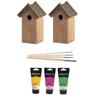 2x houten vogelhuisje/vogelhuisje 22 cm roze/geel/groen dhz schilderen pakket