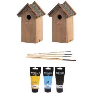 2x houten vogelhuisje/vogelhuisje 22 cm zwart/geel/lichtblauw dhz schilderen pakket