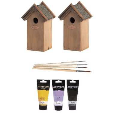 2x houten vogelhuisje/vogelhuisje 22 cm zwart/geel/paars dhz schilderen pakket