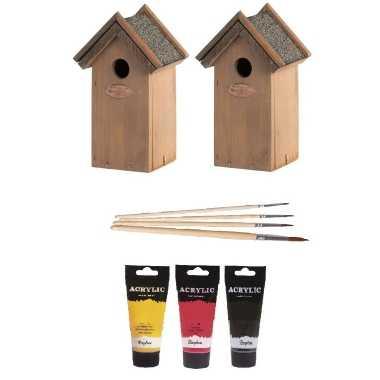2x houten vogelhuisje/vogelhuisje 22 cm zwart/geel/rood dhz schilderen pakket
