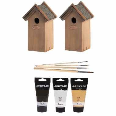 2x houten vogelhuisje/vogelhuisje 22 cm zwart/goud/zilver dhz schilderen pakket