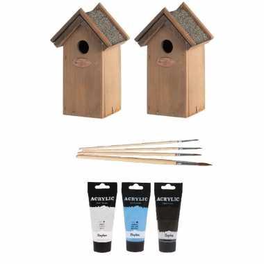 2x houten vogelhuisje/vogelhuisje 22 cm zwart/wit/lichtblauw dhz schilderen pakket