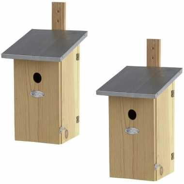 2x houten vogelhuisjes/nesthuisjes 39 cm met kijkluik