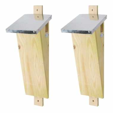 2x houten vogelhuisjes/nesthuisjes 41 cm voor boomkruiper