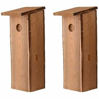 2x houten vogelhuisjes/nesthuisjes 54 cm voor specht