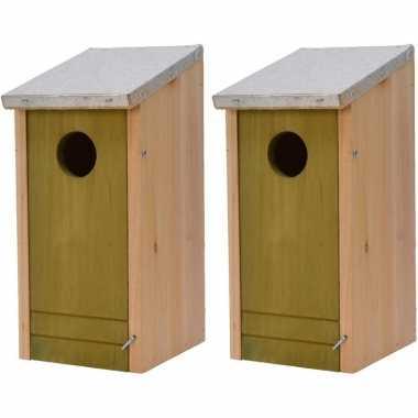 2x houten vogelhuisjes/vogelhuisjes lichtgroene voorzijde 26 cm