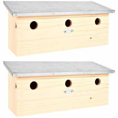 2x houten vogelhuisjes/vogelhuisjes mus/mussen 46.8 cm