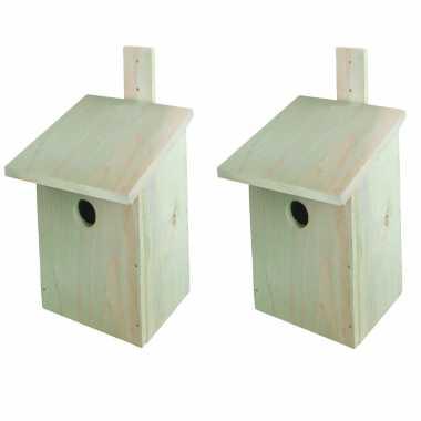 2x stuks doe het zelf houten vogelhuisjes/vogelhuisjeen 23 cm