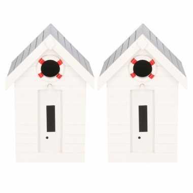 2x stuks houten vogelhuisje/vogelhuisje wit strandhuisje 21 cm