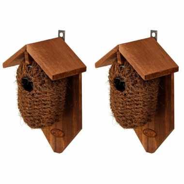 2x stuks houten vogelhuisjes/nestbuidels kokos 26 cm