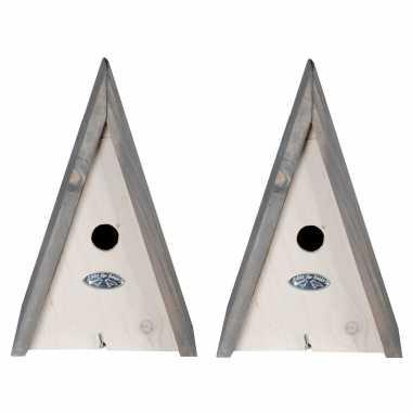 2x stuks houten vogelhuisjes/vogelhuisjeen wigwam wit/grijs 27 cm