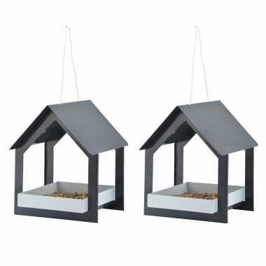 2x stuks metalen vogelhuisjes/voedertafels hangend antraciet 23 cm