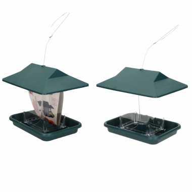 2x stuks vogel voeder huisje voor vogelzaad groen vogelhuisje