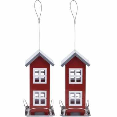 2x stuks vogel voeder huisje voor vogelzaad rood metaal 27 cm vogelhuisje