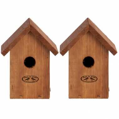 2x stuks vogelhuisje/vogelhuisje winterkoning douglas hout 19.8 cm