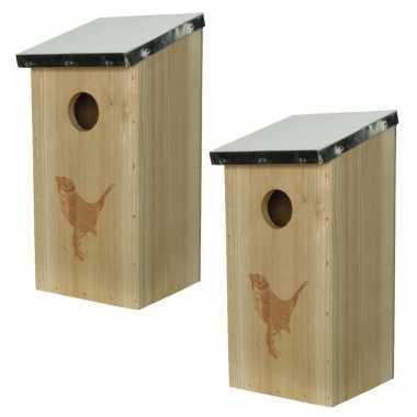 2x stuks vogelhuisjes/vogelhuisjes van vurenhout 12 x 13,5 x 26 cm