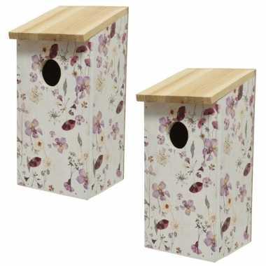 2x stuks vurenhouten vogelhuisjes/vogelhuisjes met bloemen print 12 x 13,5 x 26 cm