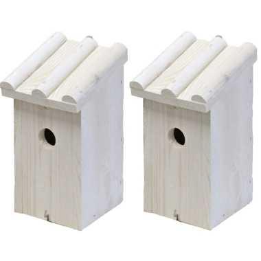 2x vogelhuisje/vogelhuisje hout wit ribdak 14 x 16 x 27 cm