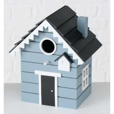 2x vogelhuisje/vogelhuisjes blauw/grijs hout 20 cm