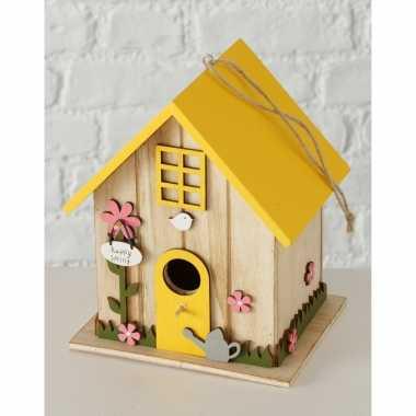 2x vogelhuisje/vogelhuisjes geel hout 18 cm