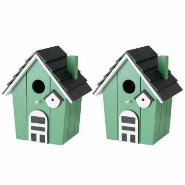 2x vogelhuisje/vogelhuisjes groen hout 21 cm