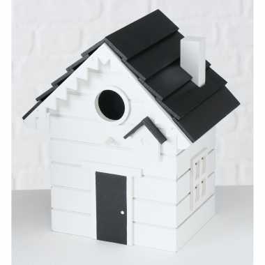 2x vogelhuisje/vogelhuisjes wit hout 20 cm