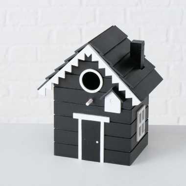2x vogelhuisje/vogelhuisjes zwart hout 20 cm
