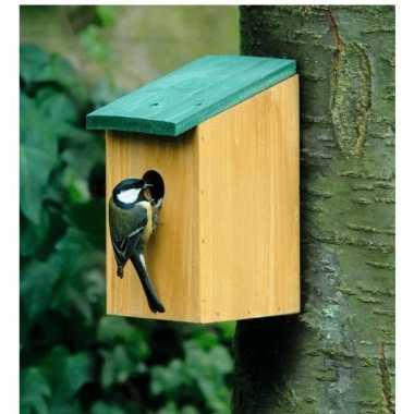 2x vogelhuisjes houten vogelhuisjes van 22 cm