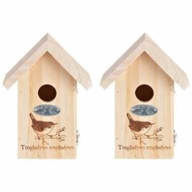 2x vogelhuisjes met vogel silhouet 19,5 x 9,5 cm