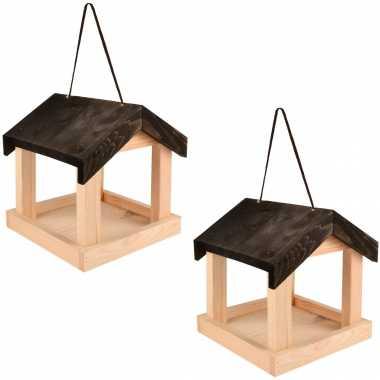 2x vogelhuisjes/muurvoederhuisjes 23.2 cm hangend