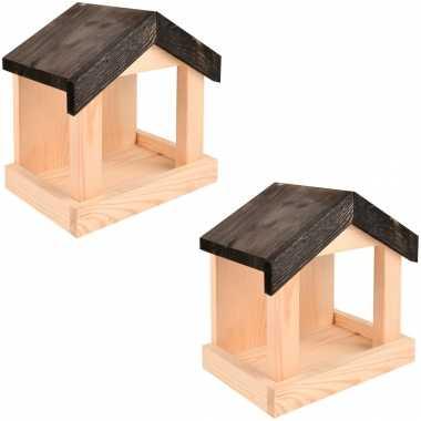 2x vogelhuisjes/muurvoederhuisjes 23.2 cm