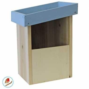 2x vogelhuisjes/nesthuisjes blauw dak van hout 25 cm
