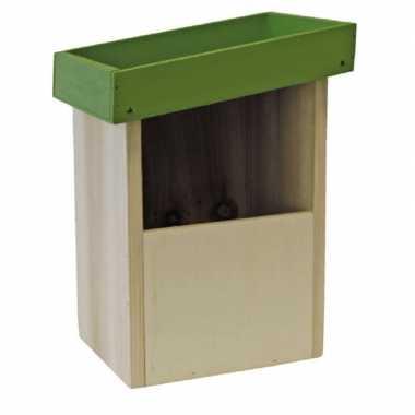 2x vogelhuisjes/nesthuisjes groen dak van hout 25 cm