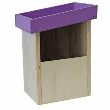2x vogelhuisjes/nesthuisjes paars dak van hout 25 cm