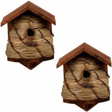 2x vogelhuisjes/vogelhuisjes bijenkorf 25.8 cm