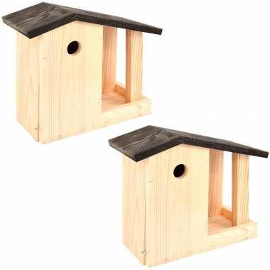 2x vogelhuisjes/vogelhuisjes met voedertafel 24.4 cm