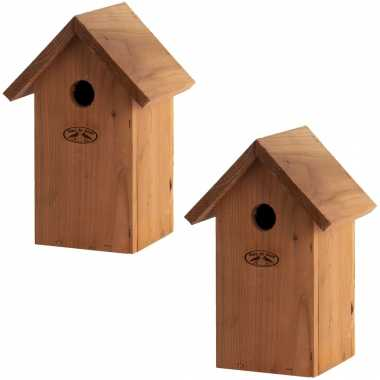 2x vogelhuisjes/vogelhuisjes pimpelmees / pimpelmeesjes 25.7 cm